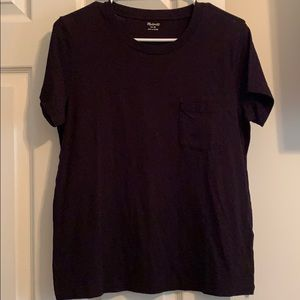 Madewell Black Crew Neck Pocket Tee